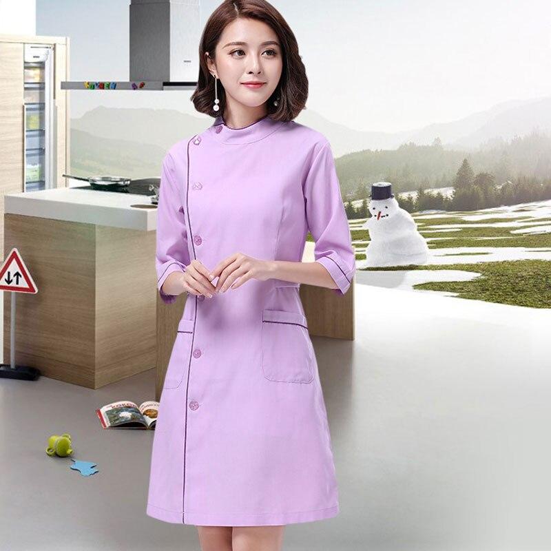 Half Sleeve Nurse Work Wear Dress Dental Clinic Hospital Surgeon Uniforms Beauty Salon Beautician Clothing Medicos Medical Gown