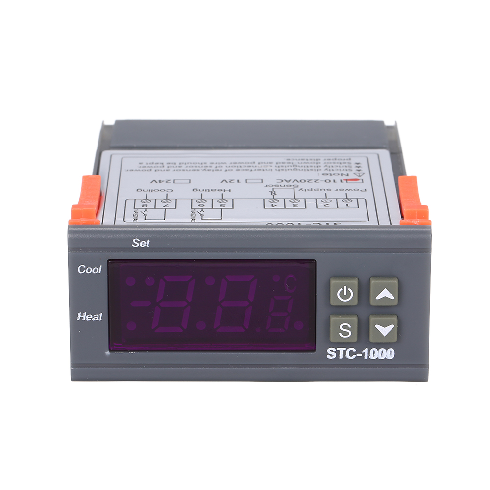 Temperature Controller 220V 12V Heating Cooling Centigrade Thermostat 2 Relays Output With Sensor Digital Temperature Controller