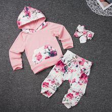 2019 new baby girls clothes set Autumn winter floral long sleeve cute Newborns cartoon print cotton warm toddler girl cl