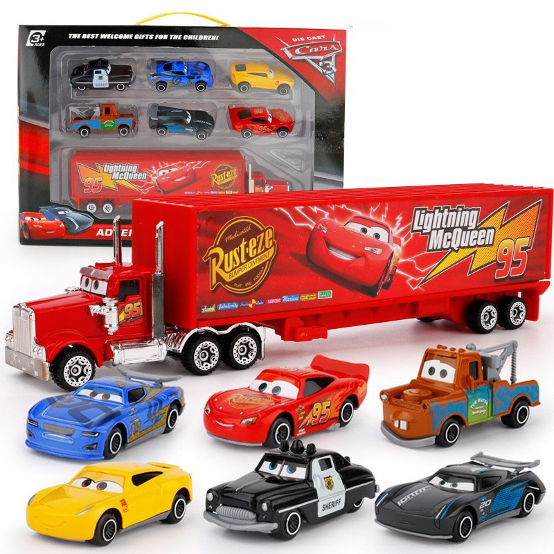 7Pcs/set Disney Pixar Cars Lightning Jackson Storm Mack Uncle Truck 1:55 Diecast Metal Car Model Boy Toy Gift With Box