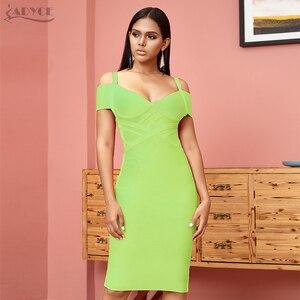 Image 5 - ADYCE 새로운 여름 붕대 드레스 여성 Vestidos 2020 섹시한 오렌지 V 넥 오프 어깨 Bodycon 클럽 드레스 미디 연예인 파티 드레스
