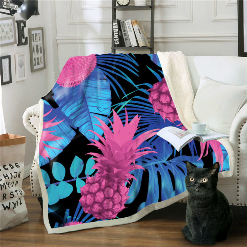 Drop Shipping Throw Blanket 3D Printed Pineapple Velvet Plush Sherpa Fleece Blanket For Sofa Microfiber Couch Cover Bedspread in Blankets from Home Garden