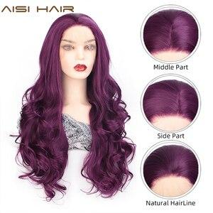 Image 2 - AISI saç siyah uzun dalgalı peruk sentetik dantel ön peruk siyah kadınlar için doğal kısmı ısıya dayanıklı iplik peruk