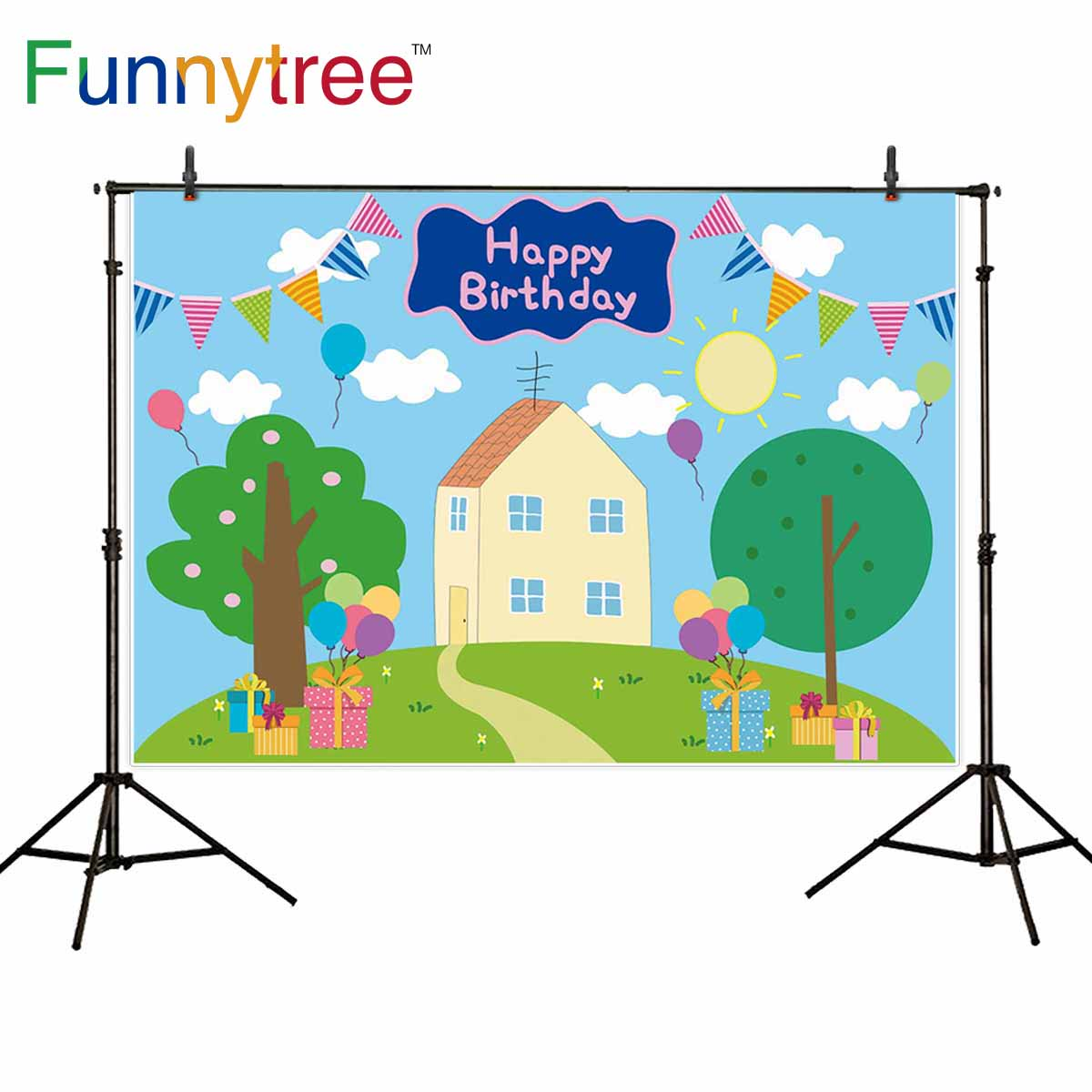 Funnytree Photobooth Background Birthday Child Baby Shower Houses Banner Gift Pig Blue Photocall Photo Photography Photophone