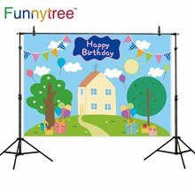 Funnytree خلفية حفلة عيد ميلاد الطفل استحمام الطفل المنازل هدية الكرتون خنزير خلفية صور التصوير photophone