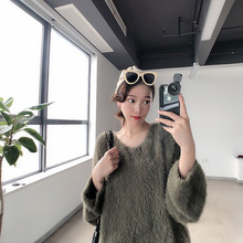 2019Plush Mohair Wool Sweater Women Lazy Wind Sleeve V-neck and Loose Sleeves Knitting V-Neck Pullovers Sweater Women цена