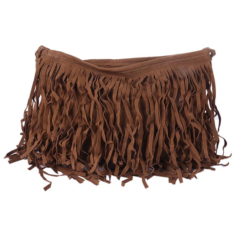 Womens Tassle Fringe Faux Suede Shoulder Messenger Crossbody Bag Handbag Purse Black Brown White