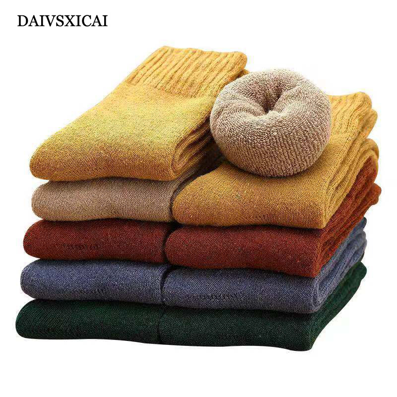 3Pairs/lot=6pieces Woman Winter Socks Plus Velvet Thick Warm Terry Socks Ladies  Imitation Rabbit Wool Towel Socks Female