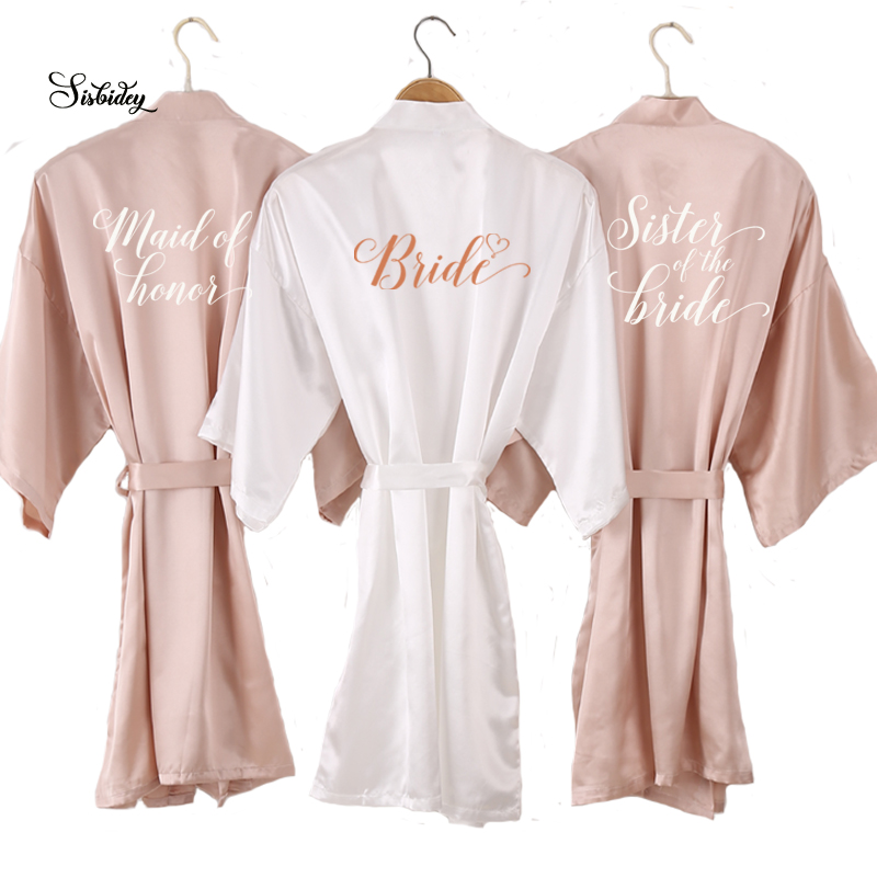 new Champagne bathrobe bride satin-silk robe women bridal party sister team mother shower gift bridesmaid wedding short robes(China)