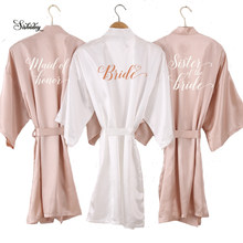 new Champagne bathrobe bride satin-silk robe women bridal party sister team mother shower gift bridesmaid wedding short robes(China)