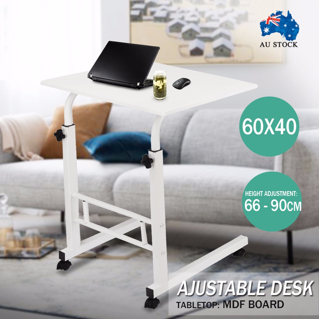 New White Portable Laptop Desk Adjustable Mobile Computer Laptops Table With Rollers Study Desk Sofa Bed Side Table Stand