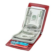 купить TRASSORY Rfid Blocking Mini Metal Money Clip Wallet Slim Credit Card Case Male Genuine Leather Card Wallet дешево