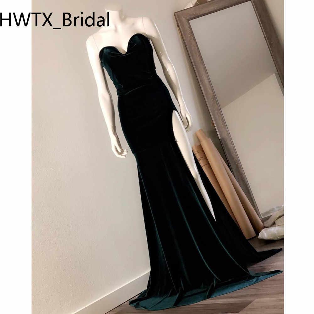Einfache Lange Samt Abendkleid 10 Schatz Seite Slit Sexy Meerjungfrau  Elegante Arabisch Dubai Formale Abendkleider Nach Maß