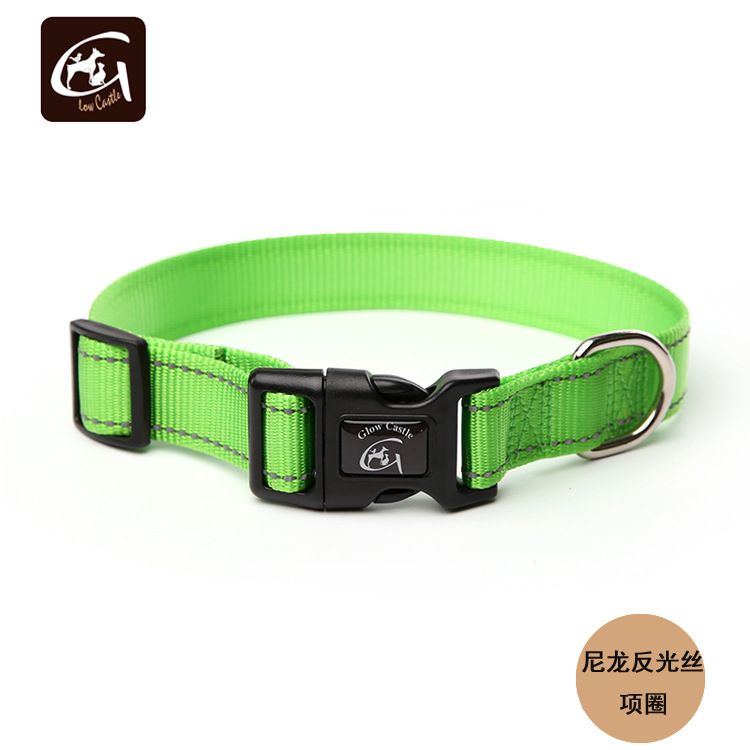Glow Castle Pet Supplies Nylon Reflective Yarn Plastic Buckle Traction Dog Neck Ring