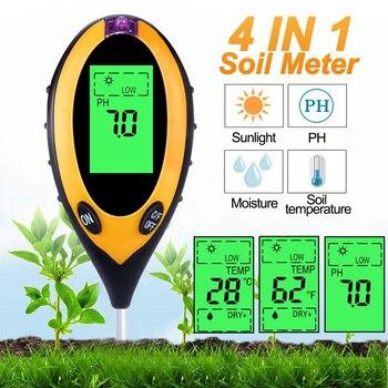 3/4 In 1 Digital Soil Ph Meter Soil Tester PH Sunlight Intensity Measurement Moisture Meter Temperature Analysis Acidity Alkali