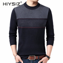 HIYSIZ Brand 2019 Casual Men sweater Streetwear Winter Knitted pull Sweater Fashion O-Neck Pull Homme Stripe Clothes H3020