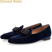 2019 Chentel Noble Manual Gentleman Velvet Fashion Mens Dress Shoes Genuine Leather Flats Handsome Mens Shoes Large Size(China)
