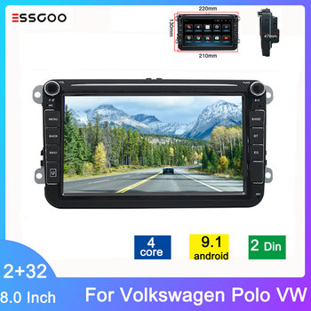 Essgoo Car Radio 2 Din Android 9.1 Autoradio GPS Bluetooth 8'' 2G+32G Car Multimedia Player For Volkswagen Polo VW Seat Skoda image