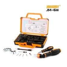JAKEMY JM 6111 69 в 1 DIY набор ручных инструментов 180 градусов трещотка отвертка с хромованадиевыми битами инструменты для дома