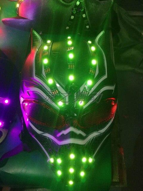 Light Up Laserman Show czerwona maska laserowa świecąca na halloween maski na laserowy pokaz sceniczny tancerz DJ nakrycia głowy