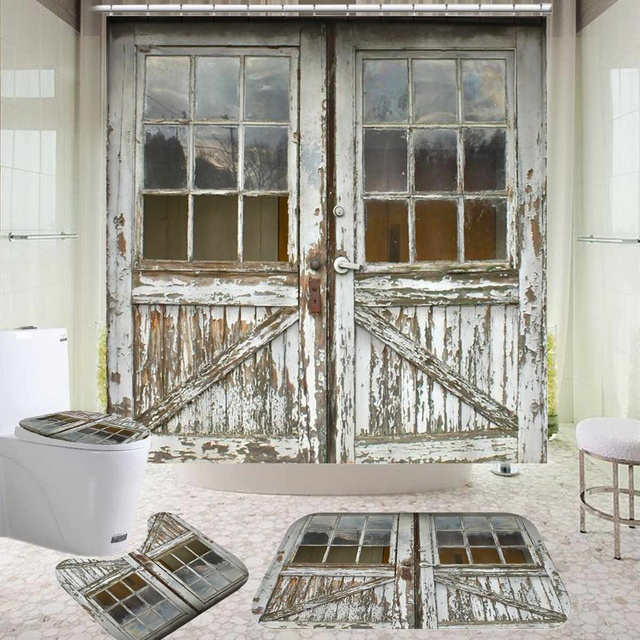 Old Vintage Wood Door Waterproof Bath Shower Curtain 1