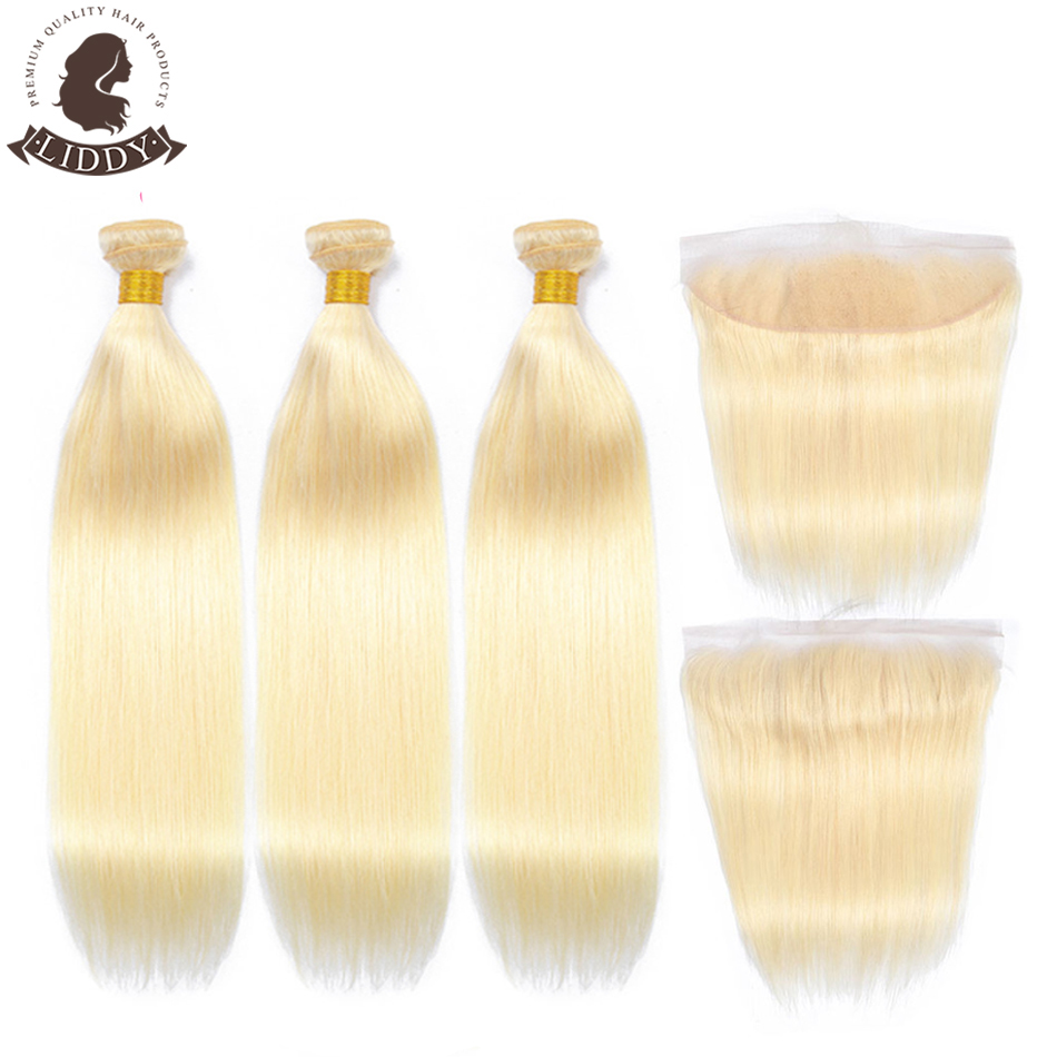 Liddy 613 Blonde Bundles With Frontal Brazilian Straight With Lace Frontal Non-remy Blonde Human Hair Lace Frontal With Bundle