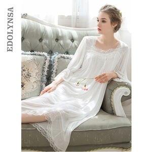 Autumn Black Modal Sleepshirts Three Quarter Sleeve Organza Nightly Dress Long Nightgown Babydoll Sleepdress Cute Nightwear T155