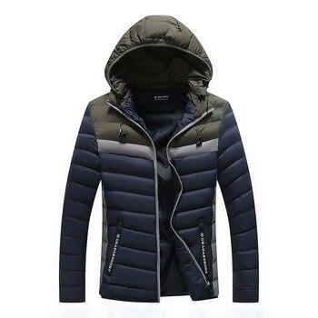 2019 Men Winter Casual New Zipper Slim Men Coats Hooded Thick Padded Jacket Men Parka Outwear Warm 3XL