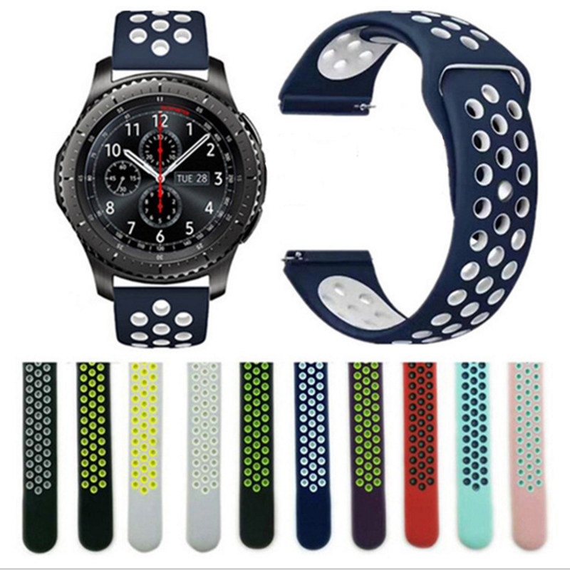 22mm 20mm Silicone Perforated Sports Strap For Samsung Galaxy Watch 46mm SM-R800 Amazfit BIP Strap For Galaxy Watch 42mm Strap