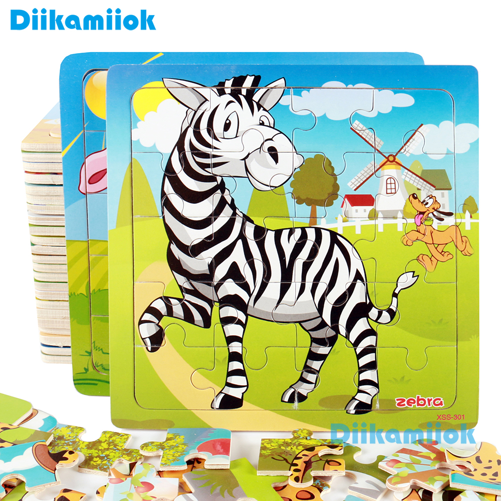 New Sale 38 Style Cartoon Wooden Puzzle Children Animal/ Vehicle Jigsaw Toy 2-6 Year Baby Early Educational Toys for Kids Game(China)