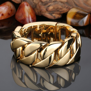 Image 4 - 31MM Wide Shiny Cuba Big Bracelet Men Cool Punk Stainless Steel Jewelry Fashion Mens Bracelets & Bangles Hand Thick Chain