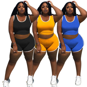 Women Casual Solid 2PCS Tracksuits 2021 Summer Sleeveless Round Neck Vest + High Waist Shorts Comfortable Yoga Outfits 3 Colors 1