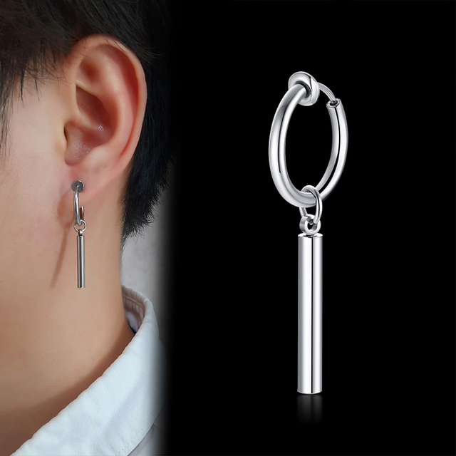 Vnox 1 Stuk Geometrische Driehoek Kruis Drop Unisex Clip Oorbellen Rvs Metalen Punk Mannen Oor Accessoire