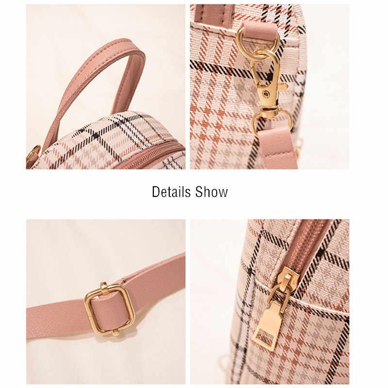 ヴェント marea ミニバックパッククロスボディバッグ代の少女格子縞の女性のショルダーバッグ電話財布韓国スタイル新トレンディ女性 bagpack