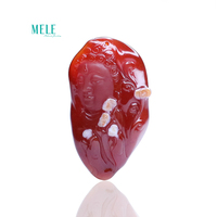 Natural Red agate carving guanyin Bodhisattva Pendant 31*53.9*15.7mm 150ct