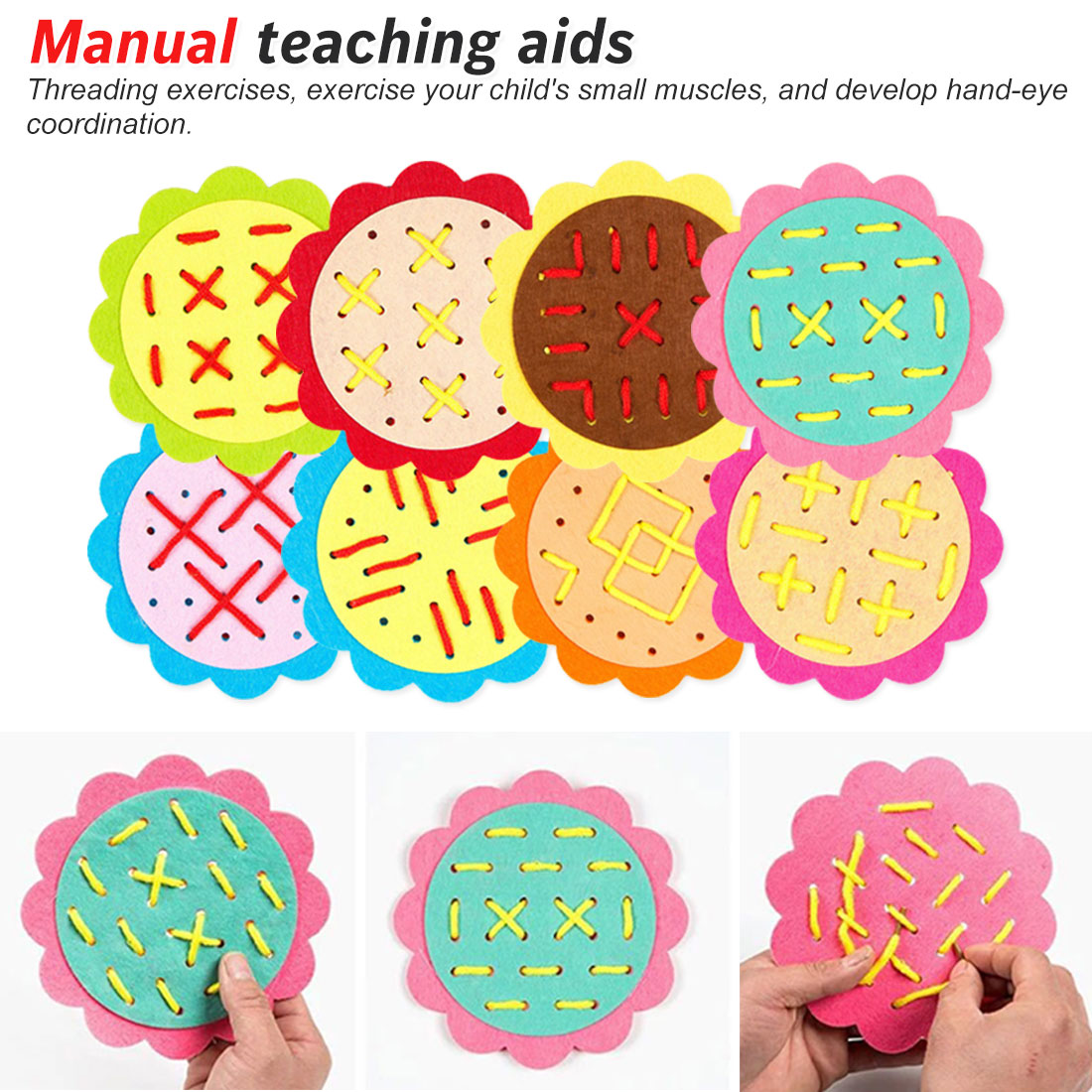 Early Learning Education Toys Teaching Aids Math Toys Threading Kindergarten Manual Diy Weave Cloth Wearing Laces
