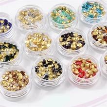 цена на Mix 12 Colors Glitter Round Diamond Sharp V-bottom Acrylic Nail box jewel Nail Art Rhinestones Jewelry DIY Decoration Wheel Tips