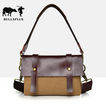 2019 new men's casual canvas bag cross shoulder messenger Cowhide Retro