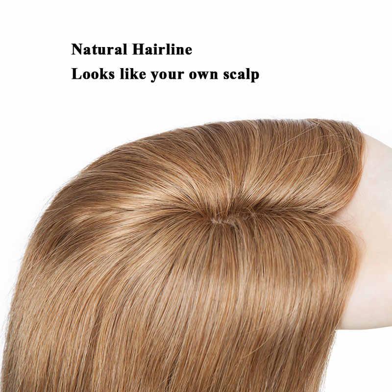 SEGO 6-22inch 6x9cm 스트레이트 실크베이스 헤어 토퍼 인간의 머리 가발 Toupee 여성을위한 순수한 색상 비 레미 WomenToupee 헤어 시스템