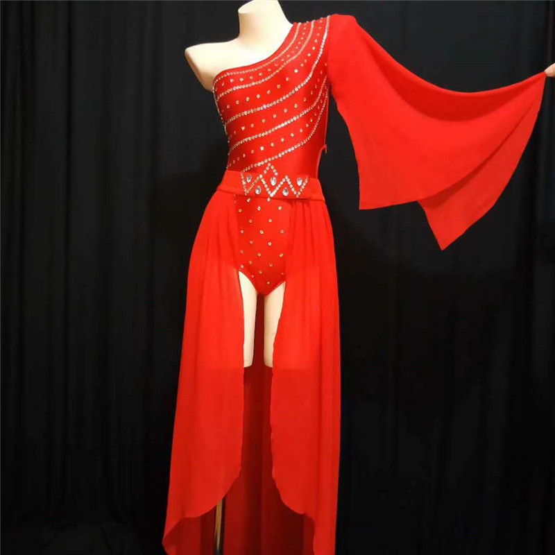 X16 Singer Sexy Stage Costumes Red Color Female Bodysuit Rhinestones Short Jumpsuit Stretched Crystal Outfit Bar Wear Skirt Club