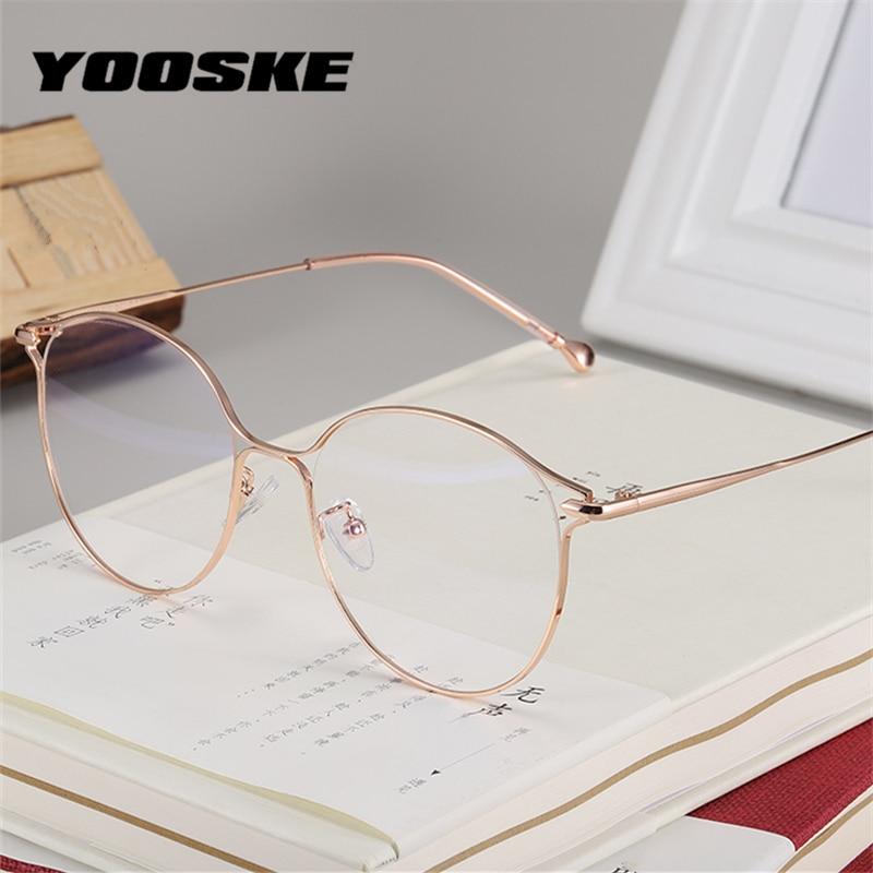 YOOSKE Anti Blue Light Cat Eye Glasses Frames Women Trending Brand Designer Clear Optical Spectacles Fashion Computer Eyeglasses