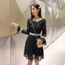 2019 Kawaii Polka Dot Autumn Dress Women Korean Style Lace-up Black Lace Long Sleeve All-match Vintage Casual Robe Femme