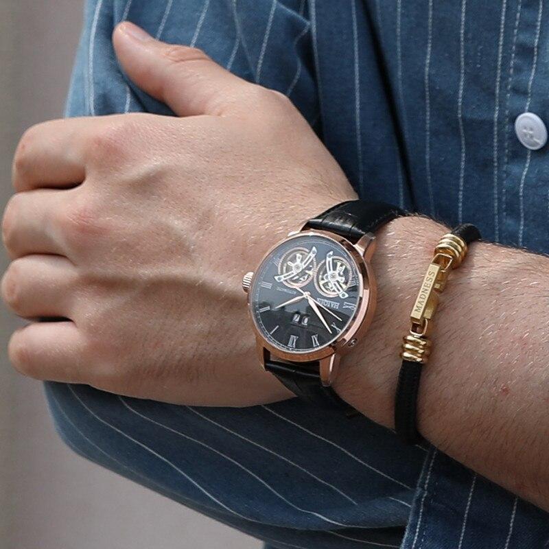 HAIQIN رجل الساعات أعلى الفاخرة العلامة التجارية آلات أوتوماتيكية ووتش الرجال مزدوجة توربيون الأزياء للماء ساعة relogio masculino-في الساعات الميكانيكية من ساعات اليد على  مجموعة 2