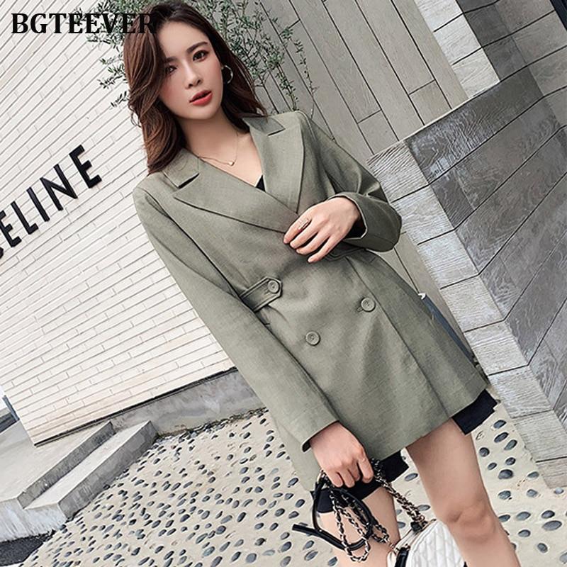 Vintage Double Breasted Women Blazers Notched Collar Office Lady Female Blazers Outwear 2019 Autumn Blaser Femeninos Veste Femme