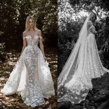2020 ilusão sereia vestidos de casamento com trem destacável fora do ombro rendas país vestidos de casamento robe de mariee