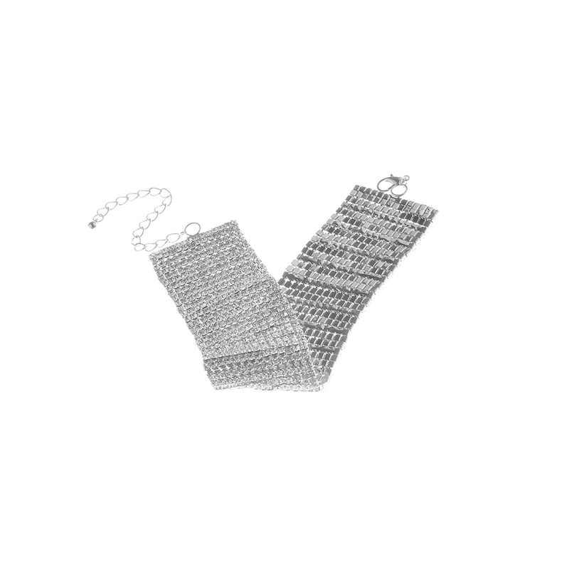 1PC クリスタル光沢のあるラインストーンアンクレットジルコンセクシーな調整可能なエスニック足首チェーン足ジュエリーゴールデントルコ裸足パーティーシルバー