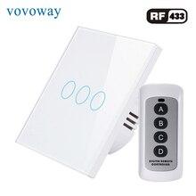 Vovoway EU Glass panel  touch switch,light switch,RF 433MHZ wireless control,3 Gang AC110V 220V