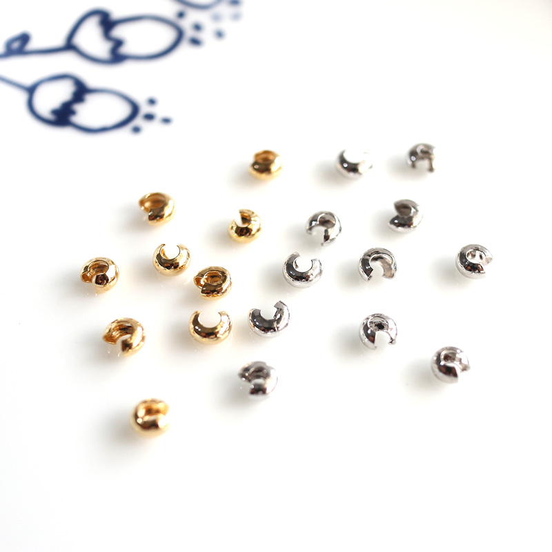 10/20/50pcs Gold Plated Platinum Plated Crimp Beads End Beads Covers For Jewelry Making 4mm