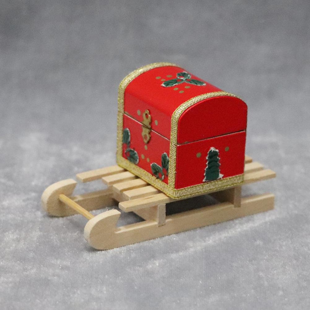 1/12 Mini Wooden Sleigh Gift Box Model DIY Christmas Landscape Dollhouse Accessory New