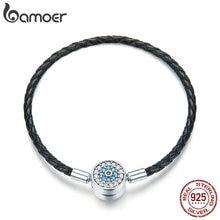 BAMOER Authentic 925 Sterling Silver Blue Eyes Leather Bracelets for Women Bracelets Bangles Sterling Silver Jewelry SCB113